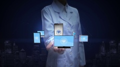 Female researcher, Engineer palm, wi fi with mobile devices, IOT technology. Stock Footage
