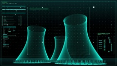 Cooling tower of nuclear power plant, thermal power plant, x-ray view image. Stock Footage