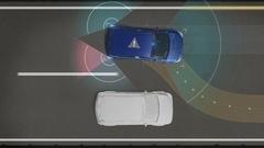 Avoiding collisions, Lane departure prevention, Autonomous driving technology. Stock Footage