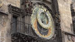 4K Amazing Astronomical Clock landmark in Prague tourism attraction symbol icon Stock Footage