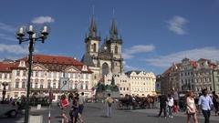 4K Tourist people enjoy old town square in Prague tourism attraction landmark Stock Footage