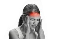 Woman suffering from headache Stock Footage