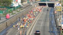 Kiev half marathon in Ukraine Stock Footage