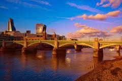 London Southwark bridge in Thames river Stock Photos