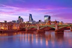 London skyline sunset Southwark bridge UK Stock Photos