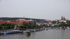 4K Timelapse car and boat transportation Prague town panoramic view church icon Stock Footage
