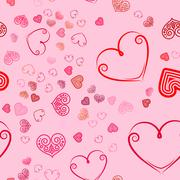 Valentines Day seamless pattern with pink hearts sprayed for background, ca.. Stock Illustration