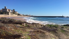 Amazing Beach In Estoril, Castle By Beach In Portugal Stock Footage