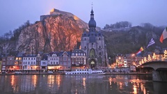 The citadel and church in Dinant Stock Footage
