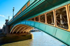 London Southwark bridge on Thames river Stock Photos