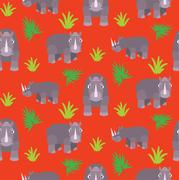 Rhino cartoon vector seamless red pattern Stock Illustration