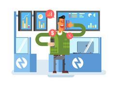 Stocks broker character Stock Illustration