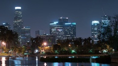 LA Downtown Reflections Time Lapse on Lake at Echo Park Stock Footage