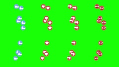 Series of Social Media Video Emoticons Flowing Up the Screen Stock Footage