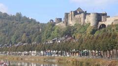 Panorama of Bouillon castle, Belgium Stock Footage