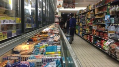 Commercial Frozen Products In Supermarket Stock Footage