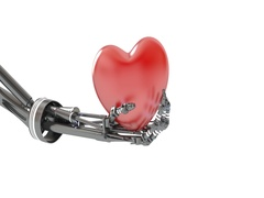 Heart in hand of robot. 3d illustration Stock Footage