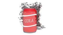 Bank of soda and spray on a white background. 3d illustration Stock Footage