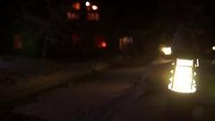 Suburban house area at winter snowy night Stock Footage