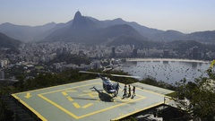Tourists taking tour in helicopter, Rio de Janeiro, Brazil Stock Footage