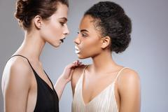 Two beautiful models accentuating their differences Stock Photos