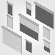 Steel security shutters isometric, vector illustration. Stock Illustration
