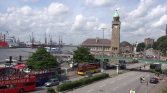 4K Aerial view busy industrial Hamburg port and traffic street touristic bus day Stock Footage