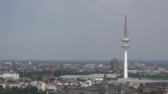 4K Heinrich Hertz Turm radio tower in central city Hamburg skyline suburban area Stock Footage
