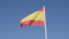 Famous Spanish red and yellow flag stripes on the wind Stock Footage