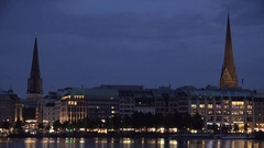 4K Old town building reflection in Alster Lake Hamburg cityscape iconic twilight Stock Footage