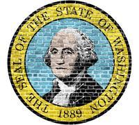 Washington D.C. Seal US flag painted on old vintage brick wall Kuvituskuvat