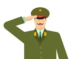 Russian military officer salute. Russia soldiers isolated. February 23 illu.. Stock Illustration