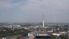 4K Hamburg skyline and Heinrich Hertz radio tower beautiful city landscape town Stock Footage