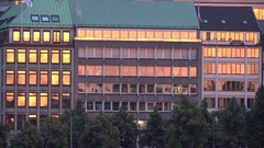 4K Amazing sunset light reflection in building glass facade of Hamburg old town Stock Footage