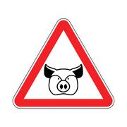 Warning Pig. swine on red triangle. Road sign attention to farm animal Piirros