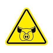Warning Pig. swine on yellow triangle. Road sign attention to farm animal Piirros