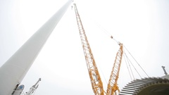 Wind Turbine Tower. Camera Moving Up and Down Stock Footage