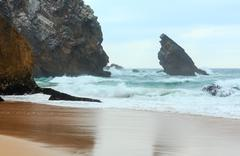 Atlantic coast view in cloudy weather, Portugal. Stock Photos