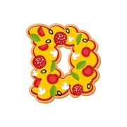Letter D pizza font. Italian meal alphabet. Lettring fast food Stock Illustration