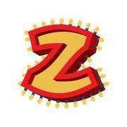 Letter Z lamp glowing font. Vintage light bulb alphabet. Retro ABC sparklin.. Stock Illustration