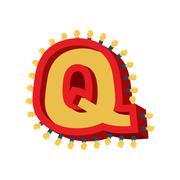 Letter Q lamp glowing font. Vintage light bulb alphabet. Retro ABC sparklin.. Stock Illustration