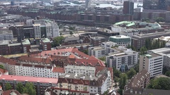 4K Aerial view old building in Hamburg red brick architecture canal water emblem Stock Footage