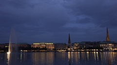 4K Amazing Hamburg old town building panorama Alster Lake house reflection night Stock Footage