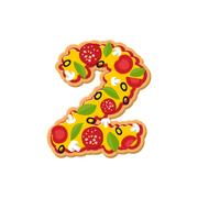Number 2 pizza font. Italian meal alphabet numeral two. Lettring fast food Stock Illustration