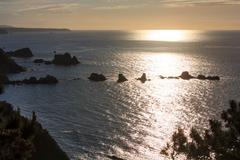 Evening Atlantic ocean coastline, Asturias, Spain. Stock Photos
