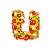 Letter U pizza font. Italian meal alphabet. Lettring fast food Stock Illustration