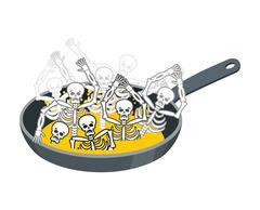 Sinner fry in pan. Skeleton in boiler. Cook sinners in oil. Religion illust.. Stock Illustration