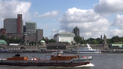 4K Pan right barge transportation follow industrial boat sail Hamburg old port Stock Footage