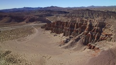 Red Cliff Aerial Shot of Rock Formations in Mojave Desert California Stock Footage