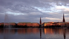 4K Timelapse sunset orange light on old town building Hamburg cityscape landmark Stock Footage